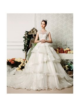Floor Length A-Line Bateau Neck Tiered Ruffles Open Back Wedding Dress