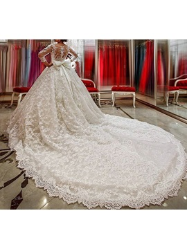 Vintage 3/4 Length Sleeves Ball Gown Lace Wedding Dress