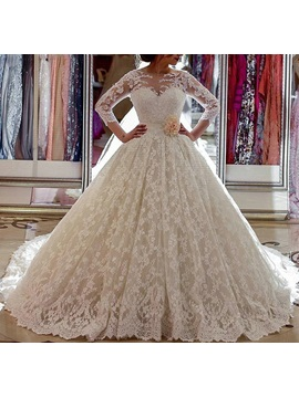 34 length sleeve lace ball gown wedding dress tidebuy 34 length sleeve lace ball gown wedding dress junglespirit Gallery