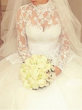 Vintage High Neck Long Sleeves Button Lace Wedding Dress
