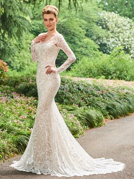 Long Sleeves V-Neck Mermaid Backless Lace Wedding Dress