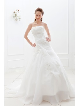 A-Line/Princess Strapless Floor-length Chapel Appliques Ela's Bridal Gown