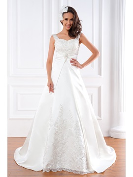 Elegant A-Line/Princess Straps Chapel Train FLoor Length Renata's Wedding Dress