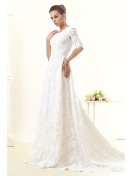 Half Sleeves A-Line V-Neck Appliques Lace Taline's Wedding Dress