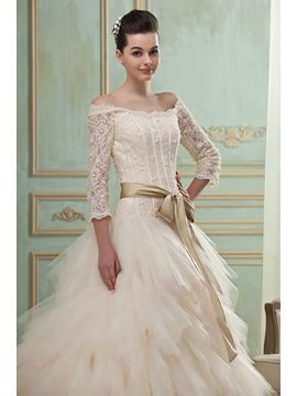 Gorgeous 3/4-Length Sleeves A-Line/Princess off-the-Shoulder Chapel Tiered Wedding Dress
