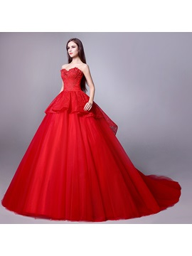 Stunning Strapless Sweetheart Floor Length A-Line Red Wedding Dress