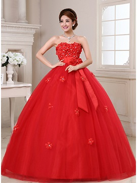 Dazzling Sweetheart Floor Length Floral Maternity Red Wedding Dress