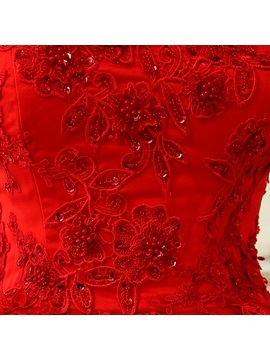 Strapless Sweetheart Lace Appliques Red Wedding Dress