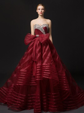 Burgundy Strapless Beading Stripes Bowknot Ball Gown Wedding Dress