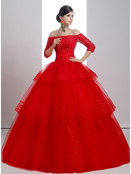 Beaded Off the Shoulder Half Sleeve Ball Gown Red Wedding Dress