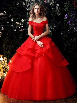 Lace Off the Shoulder Tiered Ruffles Red Princess Wedding Dress