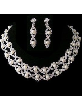 Amazing Alloy with Pearl Wedding Jewelry Set (Including Necklace and Earrings)