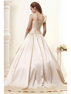 Vintage Ball Gown One-Shoulder Flowers Angerlika's Wedding Dress