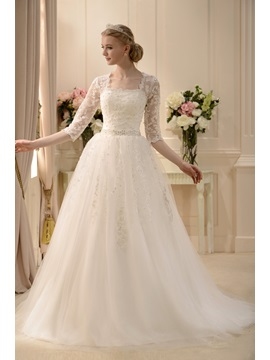 A-line Square Neckline Floor-length 3/4-Length Sleeves Lace Wedding Dress