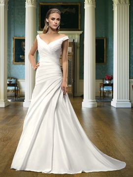 Classic A-Line Off-The-Shoulder V-Neck Court Train Wedding Dress