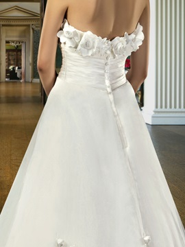 Classical A-Line Strapless Flowers Ankle-Length Wedding Dress