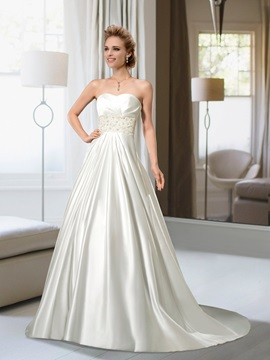 Popularable A-line Sweetheart Beading Button Sweep Train Wedding Dress