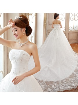 Luxurious Strapless Appliques Floor-length A-Line Lace-up Wedding Dress