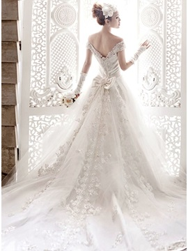 Dazzling Cathedral Train Off the Shoulder A-Line Appliques Wedding Dress