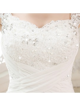 Straps Beaded Appliques Sweetheart A-Line Wedding Dress
