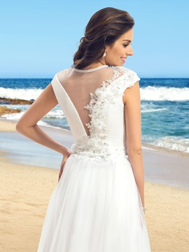 Jewel Neck Short Sleeve A-Line Tulle Wedding Dress