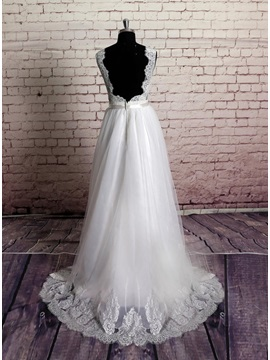 Simple Floor Length A-Line Ivory Lace Wedding Dress