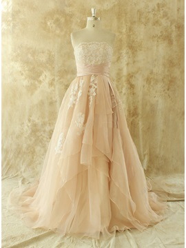 Strapless Lace Appliques Floor Length A-Line Color Wedding Dress