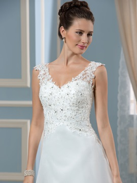 Simple  Court V-Neck A-Line Wedding Dress