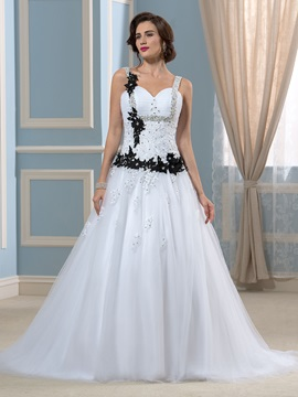 Black Bowknot Lace Sequins A-Line Court Wedding Dress