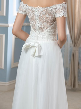 Off-The-Shoulder Tulle Lace A-Line Asymmetry Wedding Dress