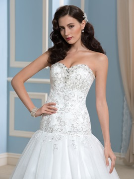 Court Train Beaded Sequins Lace A-Line Wedding Dress