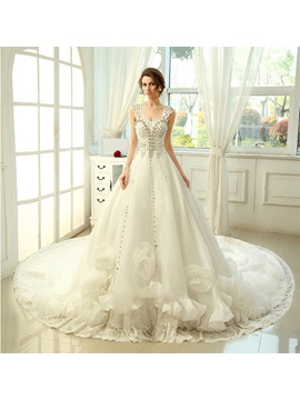 Floor Length A-Line Sweetheart Ruffles Floral Cathedral Wedding Dress
