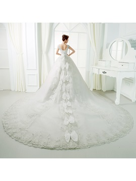 Floor Length A-Line Beaded Lace V-Neck Cathedral Wedding Dress