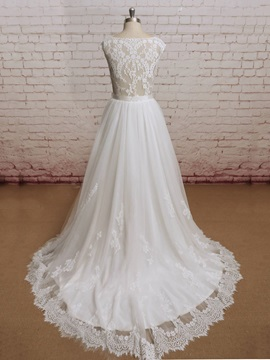 Floor Length A-Line Sheer Lace Back Cap Sleeves Wedding Dress