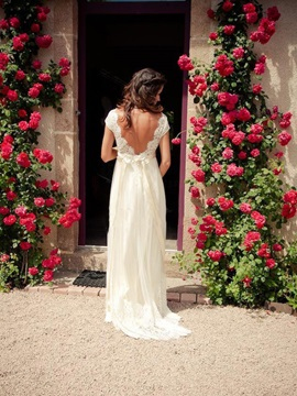 Low Back Cap Sleeves Beaded Beach Wedding Dress