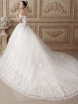 A-Line Beaded Off the Shoulder Appliques Wedding Dress