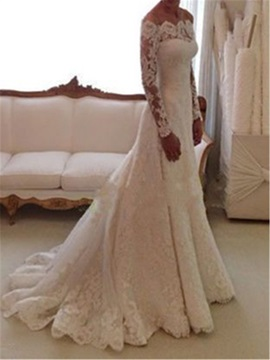 Off the Shoulder Buttoned Long Sleeve Lace Wedding Dress