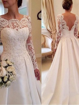Scalloped Sheer Lace Long Sleeve Backless Muslim Wedding Dress