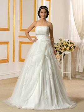 Floor Length A-Line Simple Budget Cheap Wedding Dress