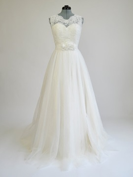 Floor Length A-Line Illusion Lace Ivory Wedding Dress