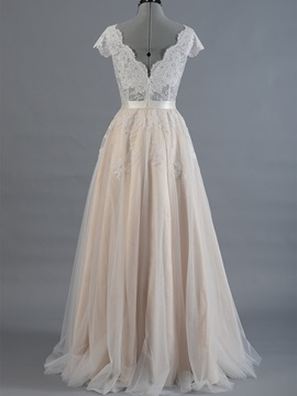 A-Line Lace V-Neck Short Sleeve Color Wedding Dress