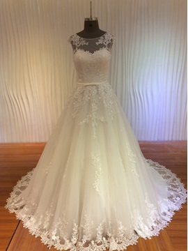 Illusion Neckline Lace Appliques A-Line Lace-Up Wedding Dress