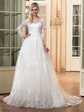 Dramatic Scoop Neck Appliques A Line Wedding Dress with Long Sleeves