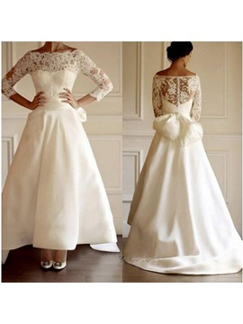 Off The Shoulder Lace Bowknot Ankle Length Wedding Dress