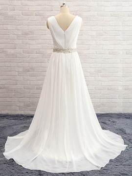 Beaded Split Front Lace Beach Wedding Dress