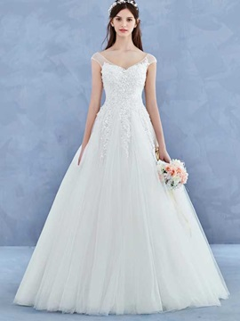 Charming V Neck Cap Sleeves Appliques A Line Wedding Dress