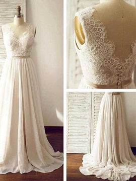 Button A Line Lace Beach Wedding Dress