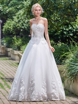 Delicate Sweetheart Appliques Beading Lace Up Wedding Dress
