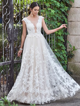 Amazing Scoop Appliques A Line Backless Wedding Dress