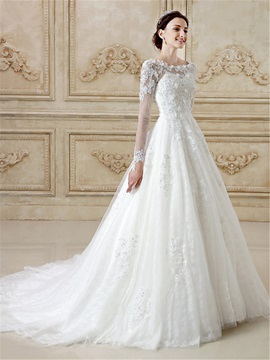 Sequins Appliques Long Sleeves Wedding Dress